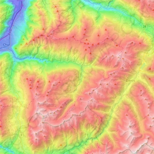 Arosa topographic map, elevation, relief