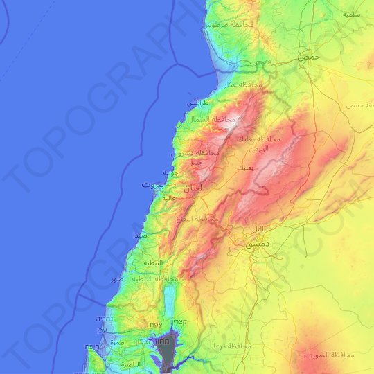 Lebanon topographic map, relief map, elevations map