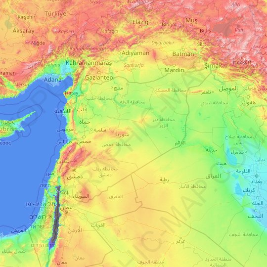 Syria topographic map, relief map, elevations map