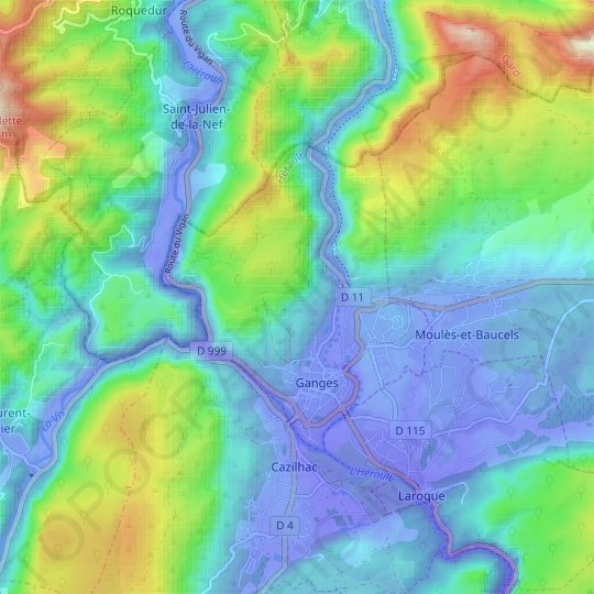Ganges topographic map, relief map, elevations map
