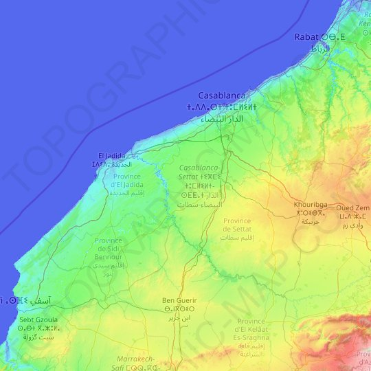 Casablanca-Settat topographic map, relief map, elevations map