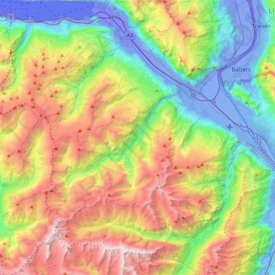 Mels topographic map, elevation, relief
