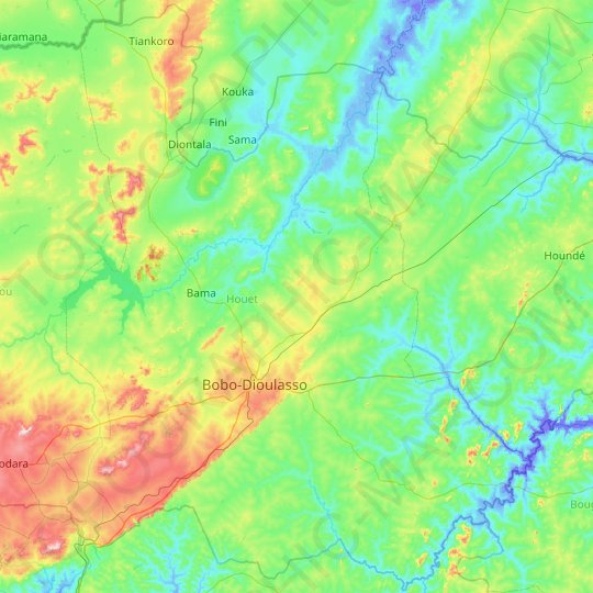 Houet topographic map, relief map, elevations map