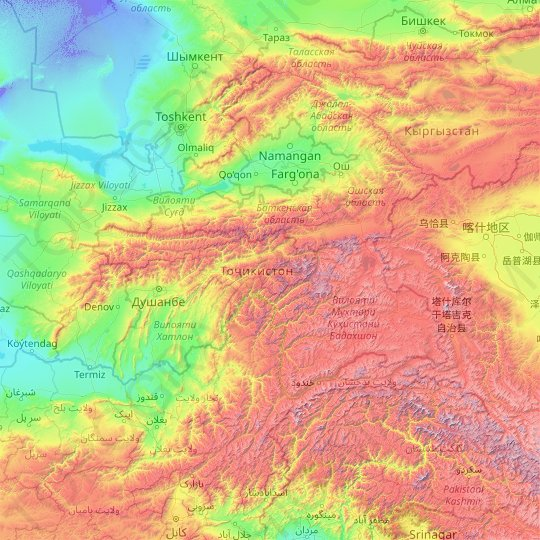 Tajikistan topographic map, relief map, elevations map