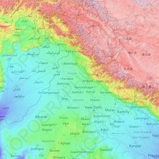 Sutlej River topographic map, relief map, elevations map