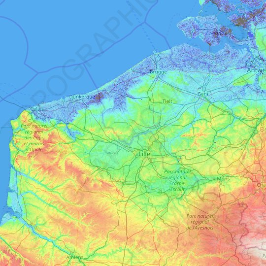 Lys topographic map, elevation, relief