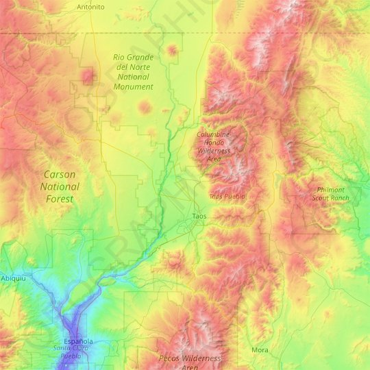 Taos County topographic map, elevation, relief