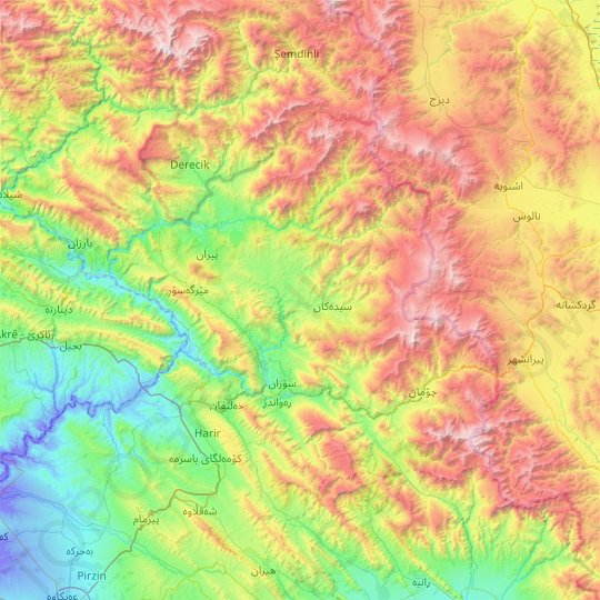Soran District topographic map, relief map, elevations map