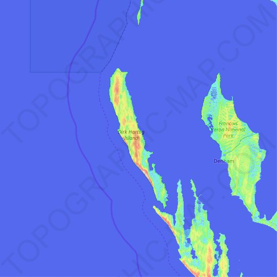 Dirk Hartog Island topographic map, relief map, elevations map