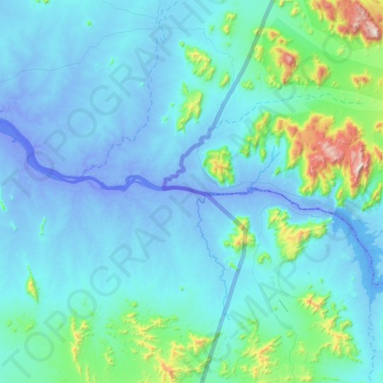 Blue Nile topographic map, elevation, relief
