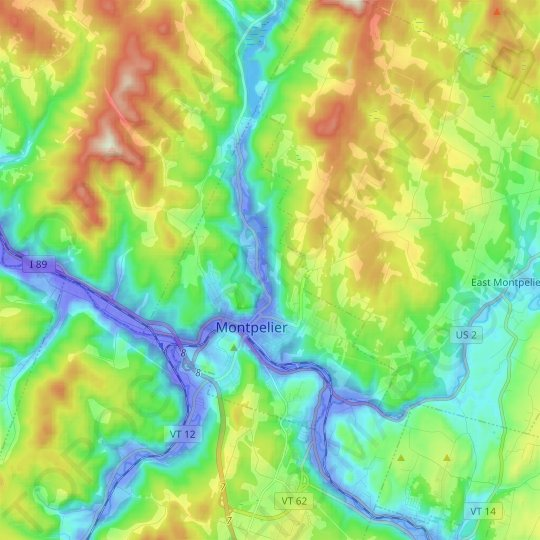 Montpelier topographic map, relief map, elevations map