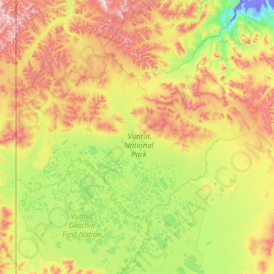 Vuntut National Park topographic map, relief map, elevations map