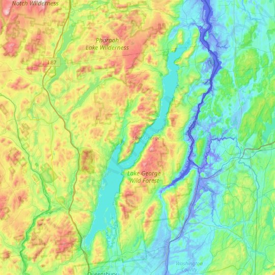Lake George topographic map, relief map, elevations map
