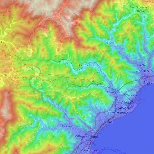 Savona topographic map, relief map, elevations map