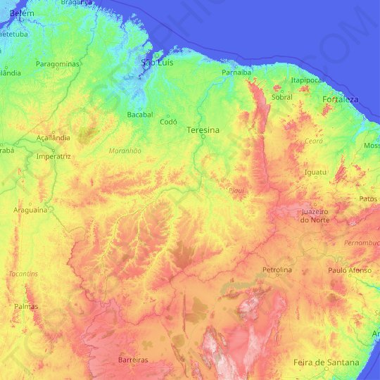PI topographic map, relief map, elevations map