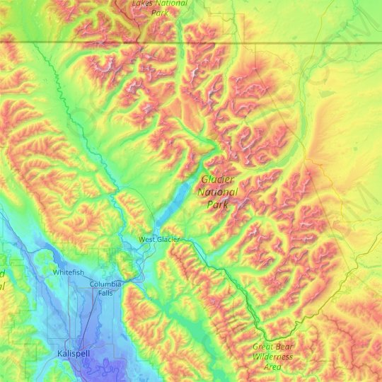 Glacier National Park topographic map, elevation, relief