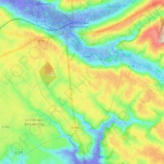 Lislet topographic map, relief map, elevations map