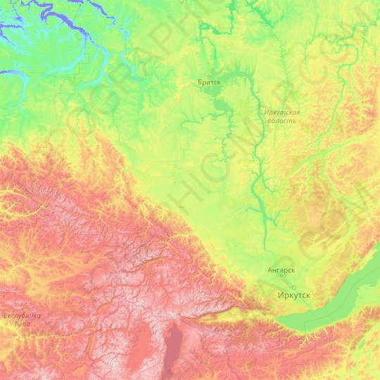 Oka River topographic map, relief map, elevations map