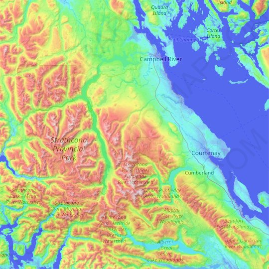 Area D (Oyster Bay/Buttle Lake) topographic map, elevation, relief