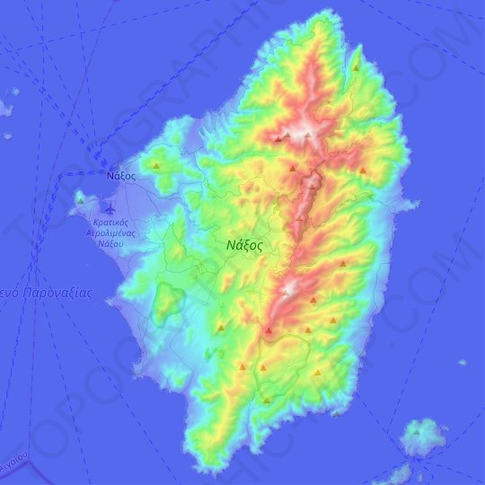Naxos topographic map, relief map, elevations map
