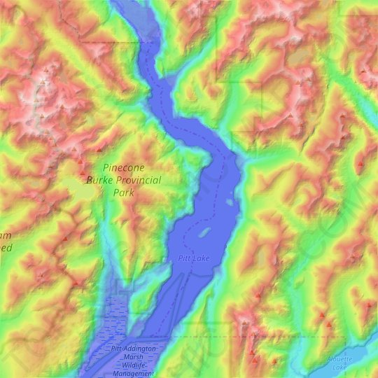 Pitt Lake topographic map, elevation, relief