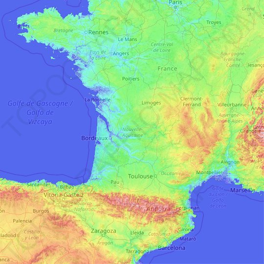 New Aquitaine topographic map, relief map, elevations map