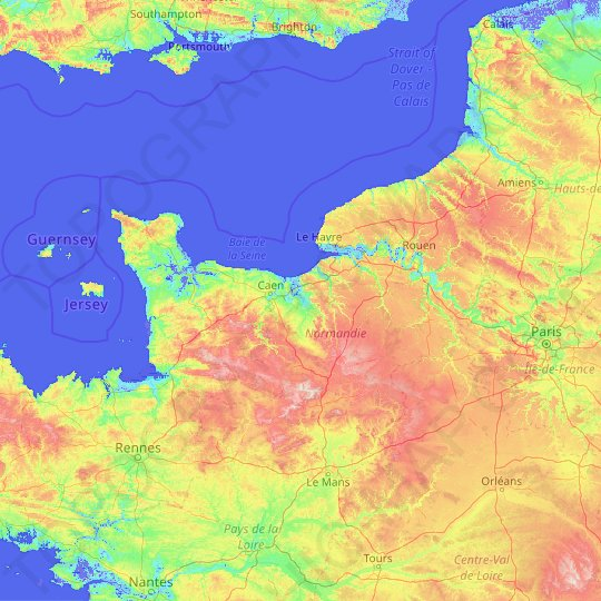 Normandy topographic map, relief map, elevations map