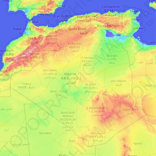Algeria topographic map, relief map, elevations map