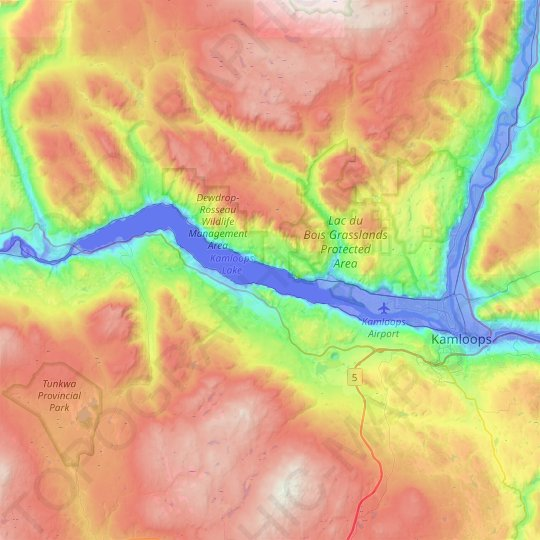Kamloops Lake topographic map, elevation, relief