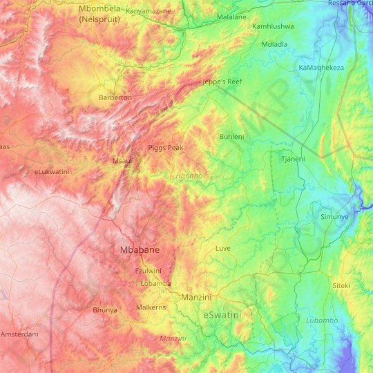 Hhohho topographic map, relief map, elevations map