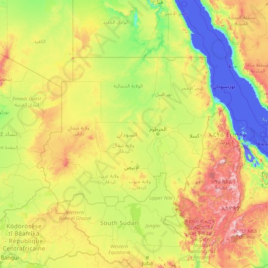 Sudan topographic map, relief map, elevations map