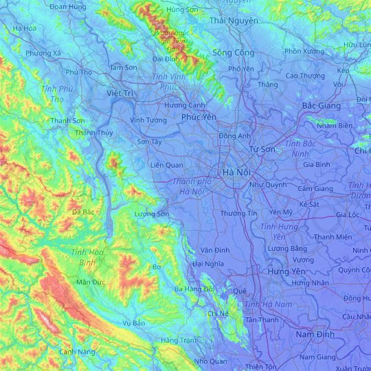 Hanoi topographic map, relief map, elevations map