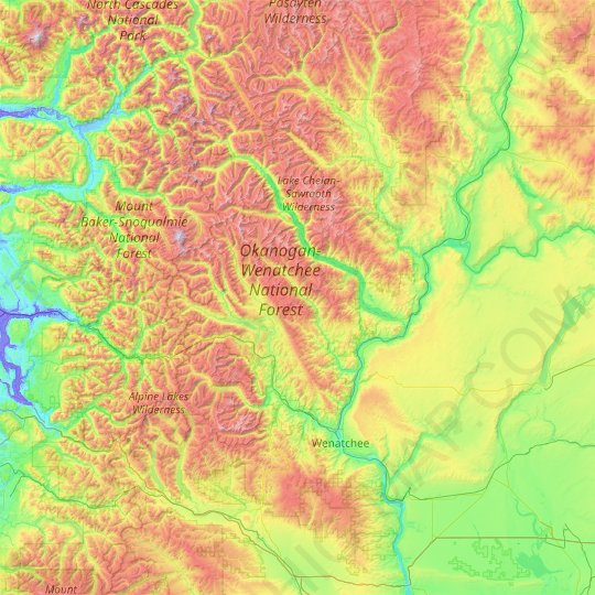Chelan County topographic map, elevation, relief