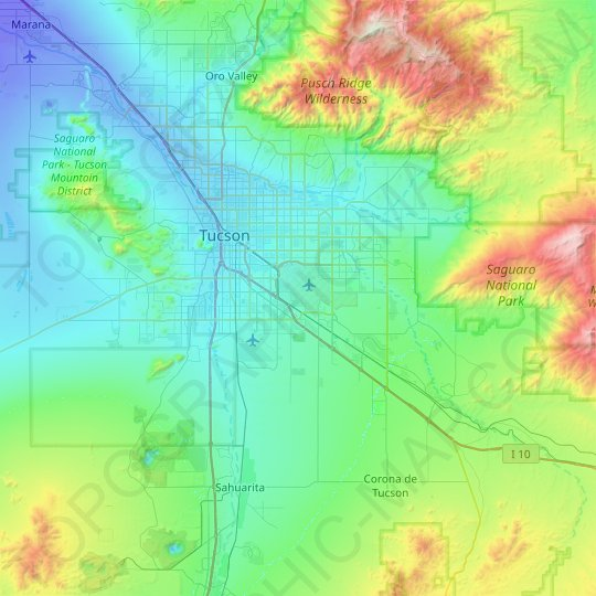 Tucson topographic map, relief map, elevations map