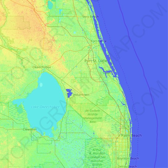 Martin County topographic map, elevation, relief