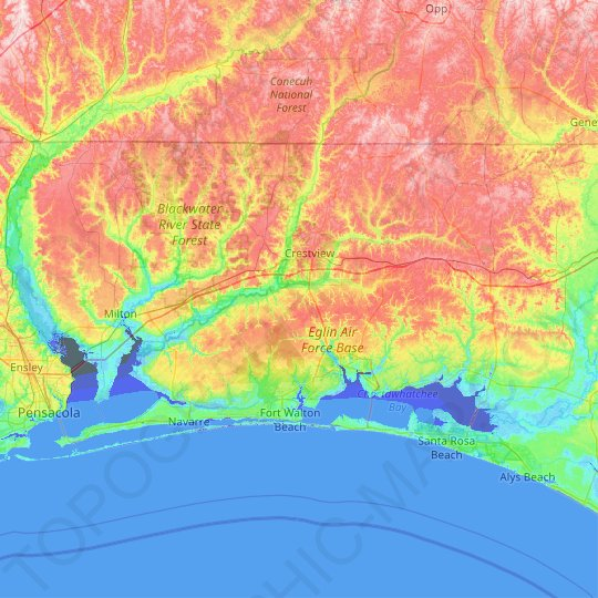 Okaloosa County topographic map, elevation, relief