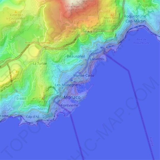 Monaco topographic map, relief map, elevations map