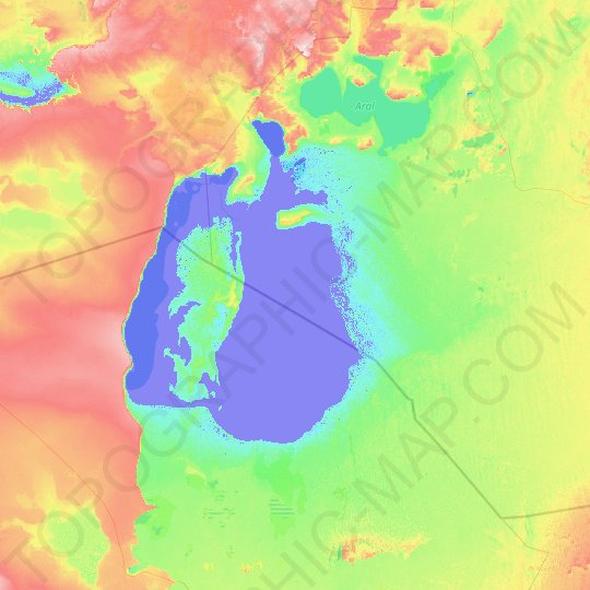 Aral Sea topographic map, relief map, elevations map