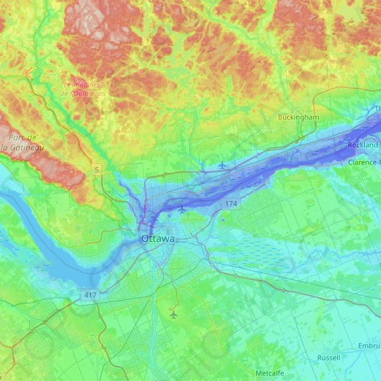 Gatineau topographic map, relief map, elevations map