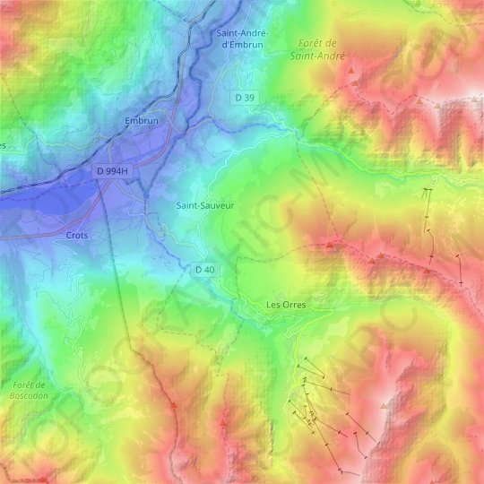 Saint-Sauveur topographic map, relief map, elevations map