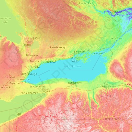 Lake Ontario topographic map, elevation, relief