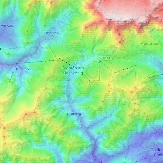 Dienten am Hochkönig topographic map, elevation, relief