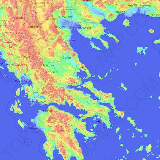Thessaly - Central Greece topographic map, relief map, elevations map