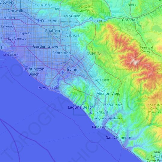 Orange County topographic map, relief map, elevations map