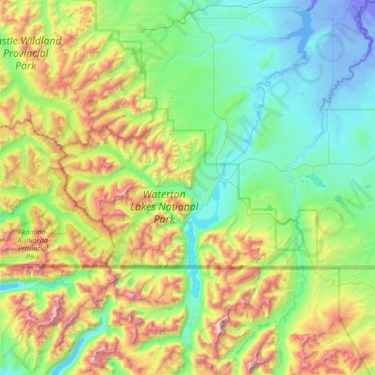 Waterton Lakes National Park topographic map, elevation, relief