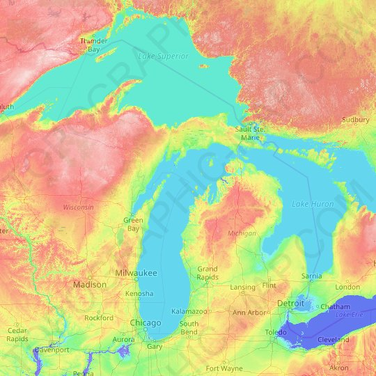 Michigan topographic map, relief map, elevations map