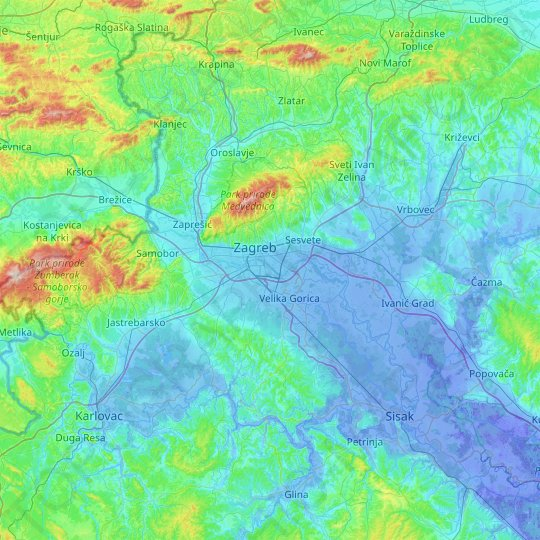Zagreb County topographic map, relief map, elevations map