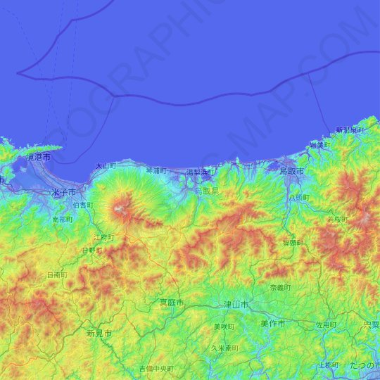 Chugoku Region topographic map, relief map, elevations map