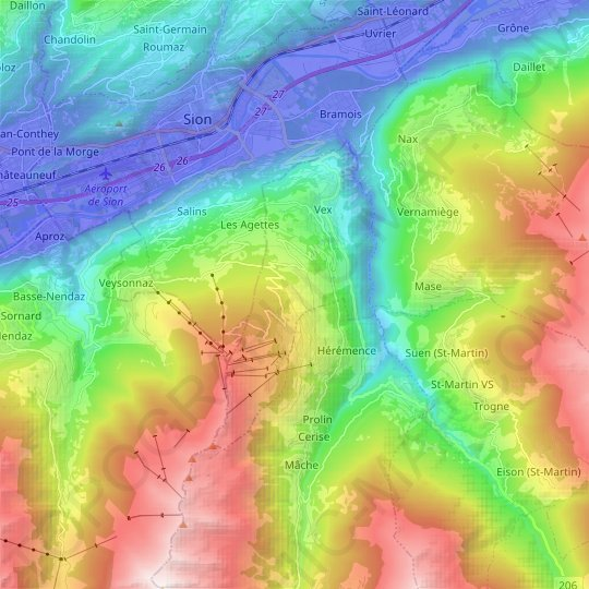 Vex topographic map, elevation, relief