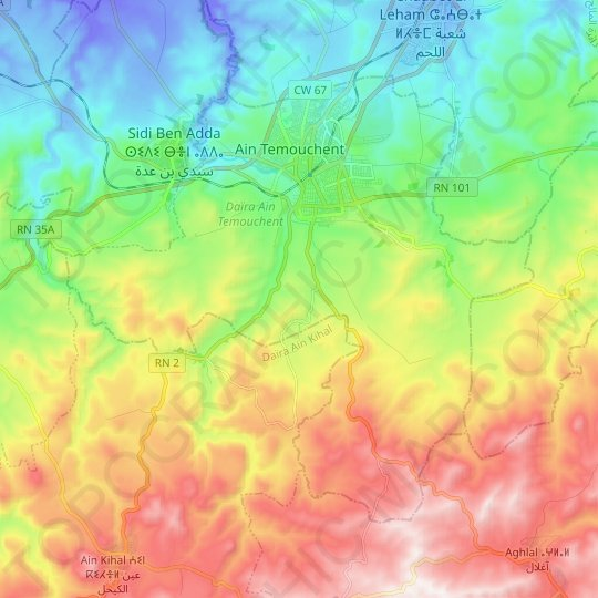Ain Temouchent topographic map, relief map, elevations map